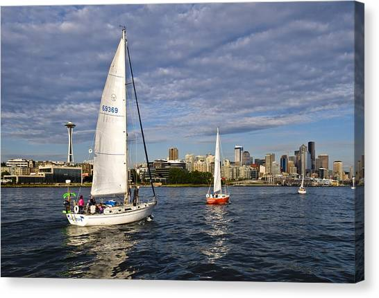 Space Needle Sail By Canvas Print by Tom Dowd
