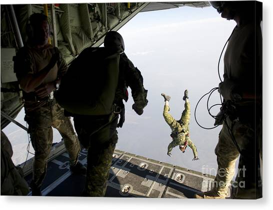 Green Berets Canvas Print - Special Operations Jumpers Exit A C-130 by Stocktrek Images