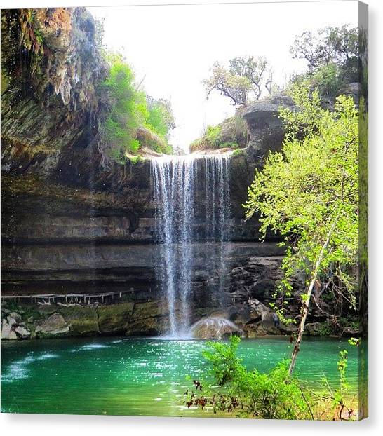 Waterfalls Canvas Print - Spent The Day At Hamilton Pool. Yes by Austin Tuxedo Cat