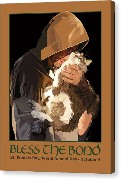 Monks Canvas Print - St. Francis With Cat by Kris Hackleman