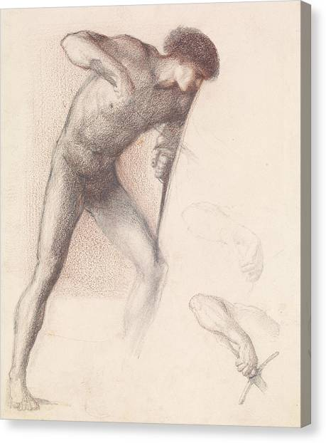 Male Nude Art Canvas Print - St George Series Male Nude  by Edward Burne-Jones