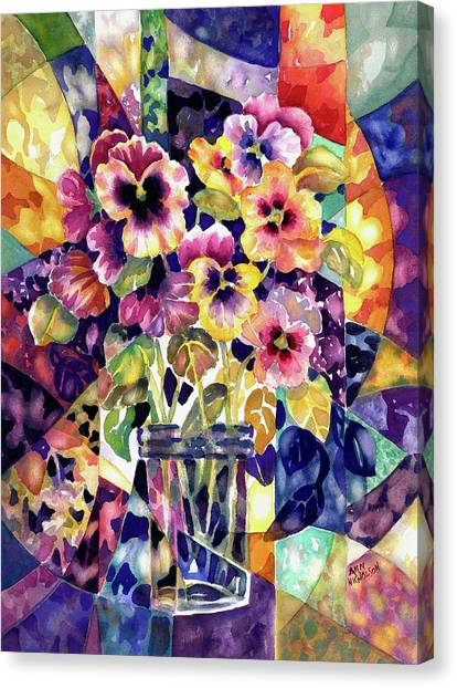 Stained Glass Pansies Canvas Print