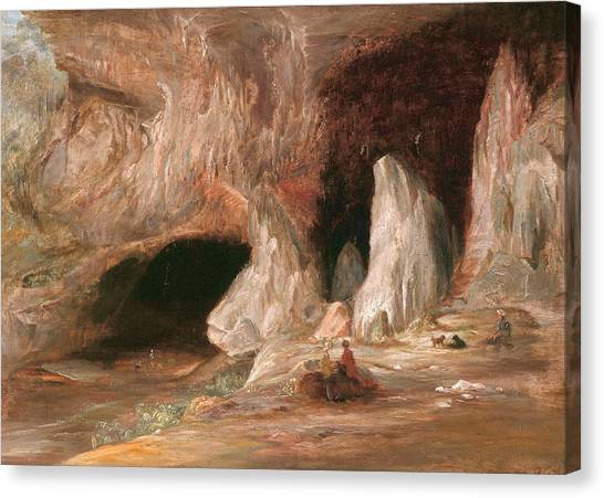 Stalagmites Canvas Print - Stalagmite Columns At The Southern Entrance Of The Burrangalong Cavern by Conrad Martens