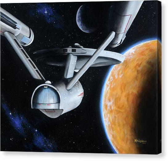 Starship Enterprise Canvas Print - Standard Orbit by Kim Lockman