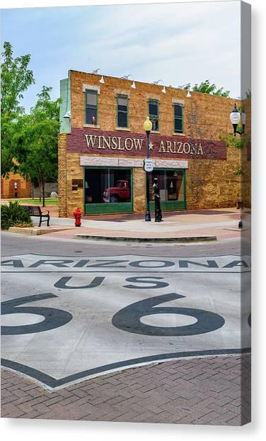 Interstates Canvas Print - Standing On The Corner - Winslow Arizona by Jon Berghoff