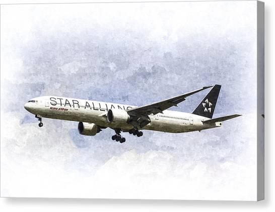 Star Alliance Canvas Print - Star Alliance Boeing 777 by David Pyatt