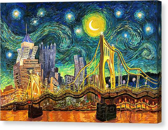 Starry Night In Pittsburgh Canvas Print