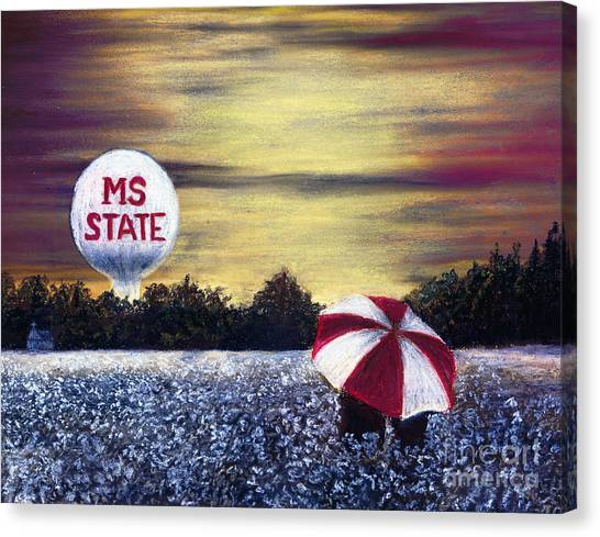 Mississippi State University Canvas Print - State Fans Under The Bulldog Umbrella by Janice Bays