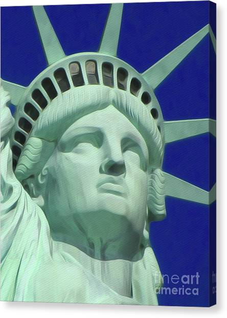 City Landscape Canvas Print - Statue Of Liberty by John Springfield