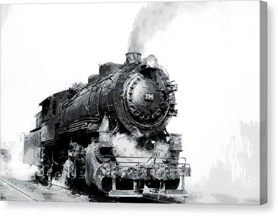 Trainspotting Canvas Print - Steam Locomotive No. 334 by Daniel Hagerman