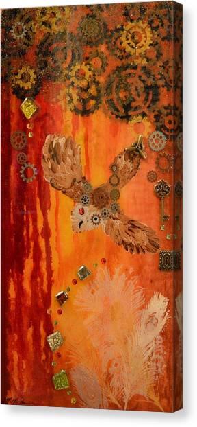 Steampunk Owl Red Horizon Canvas Print