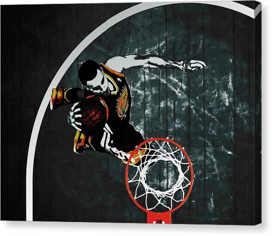 Three Pointer Canvas Print - Stephen Curry In Flight by Brian Reaves
