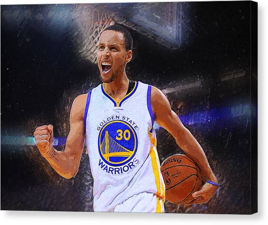 Bob Ross Canvas Print - Stephen Curry by Semih Yurdabak