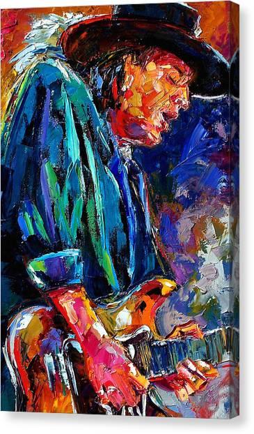 Rock Canvas Print - Stevie Ray Vaughan by Debra Hurd