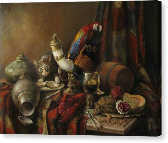 Still-life With A Lobster Canvas Print