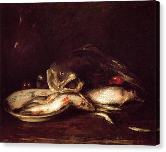 Still Life With Fish Canvas Print - Still Life With Fish by William Merritt