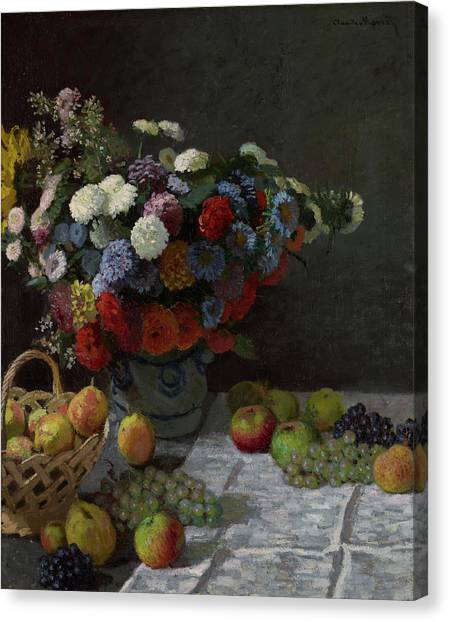 Fruit Baskets Canvas Print - Still Life With Flowers And Fruit by Claude Monet