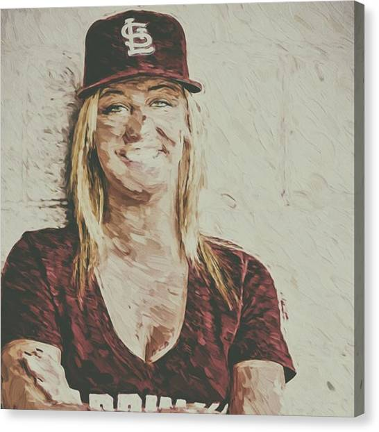 Women Canvas Print - #stlouis #stlouiscardinals #cardinals by David Haskett II