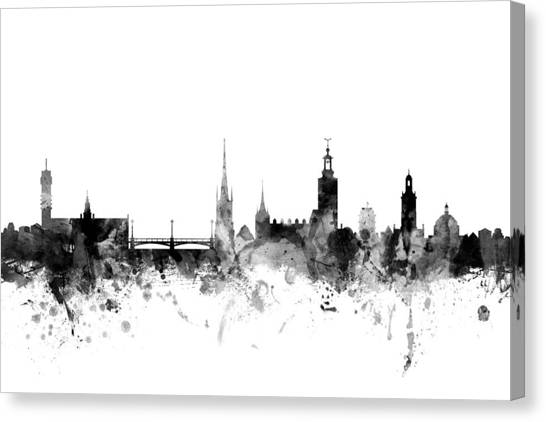 Swedish Canvas Print - Stockholm Sweden Skyline by Michael Tompsett