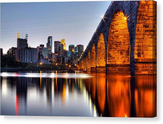 Mississippi River Canvas Print - Stone Arch Sunset by Michael Klement