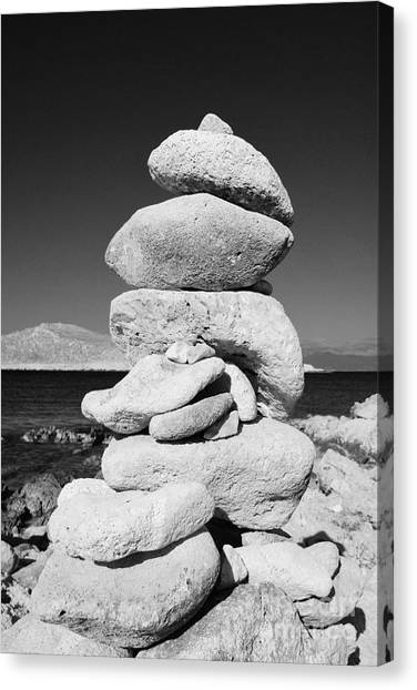Stone Tower On Halki Island Canvas Print