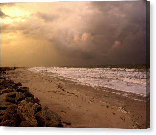 Storm On The Beach Canvas Print by Paul Boroznoff