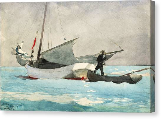American Painters Canvas Print - Stowing Sail by Winslow Homer