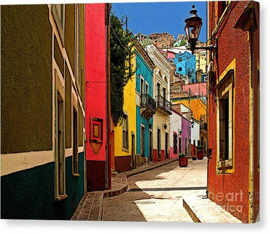 Street Of Color Guanajuato 2 Canvas Print by Mexicolors Art Photography