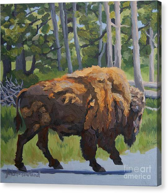 Canvas Print featuring the painting Strutting Along, Yellowstone by Erin Fickert-Rowland