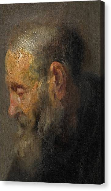 Rembrandt Canvas Print - Study Of An Old Man In Profile by Rembrandt