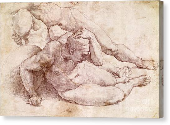 Buonarroti Canvas Print - Study Of Three Male Figures  by Michelangelo