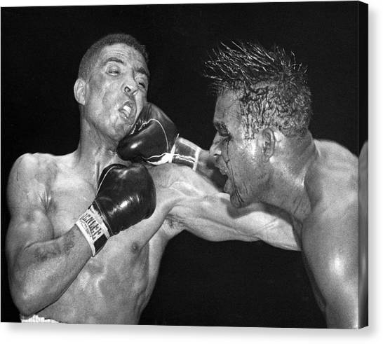 Knockout Canvas Print - Sugar Ray Throws A  Right by Underwood Archives