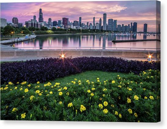 summer flowers and Chicago skyline Canvas Print