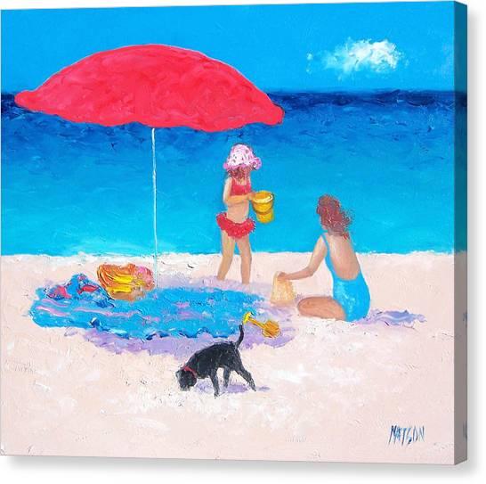 Children Playing On Beach Canvas Print - Summer Vacation by Jan Matson