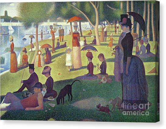 Pug Canvas Print - Sunday Afternoon On The Island Of La Grande Jatte by Georges Pierre Seurat