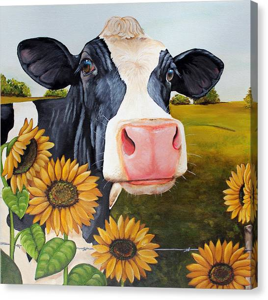 Ladybugs Canvas Print - Sunflower Sally by Laura Carey