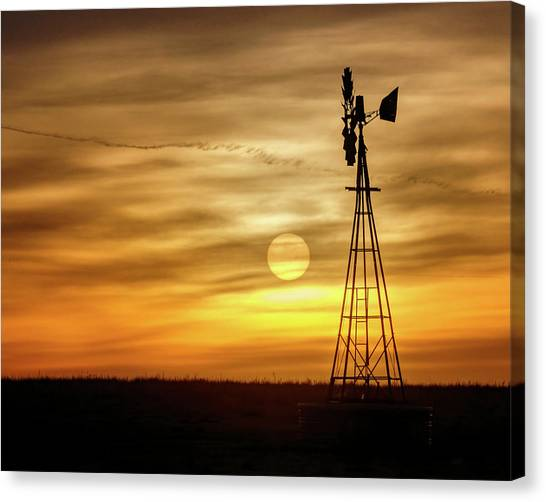 Canvas Print featuring the photograph Sunset And Windmill by Rob Graham