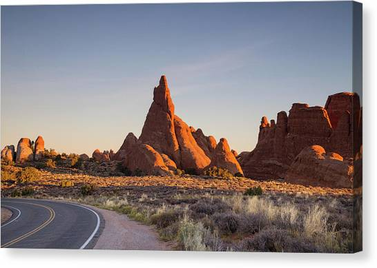 Sunrise In Arches National Park Canvas Print