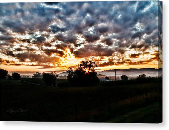 Sunrise Over Fields Canvas Print