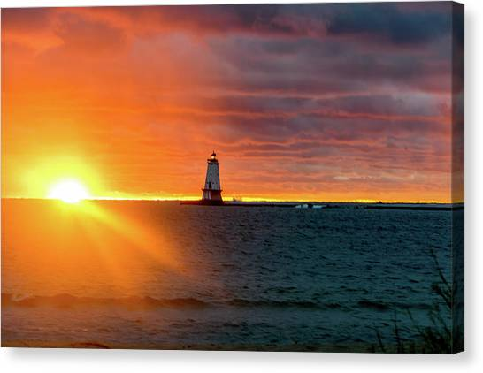 Sunset And Lighthouse Canvas Print