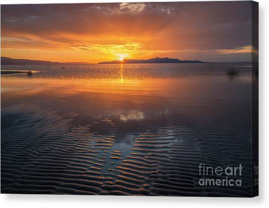 Canvas Print featuring the photograph Sunset And Sand Ripples by Spencer Baugh