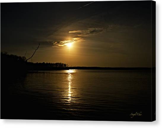 Canvas Print featuring the photograph Sunset by Angel Cher