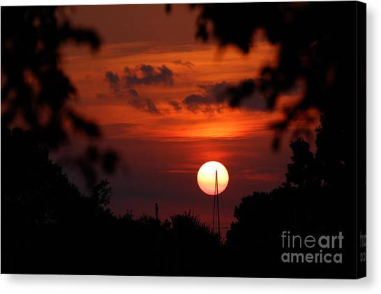 Sunset At Lake Hefner Canvas Print