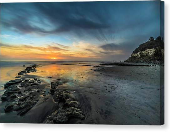 Beach Cliffs Canvas Print - Sunset At Swamis Beach by Larry Marshall