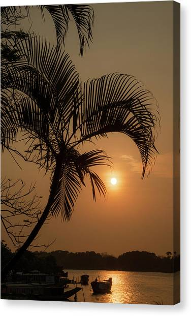 sunset Huong river Canvas Print