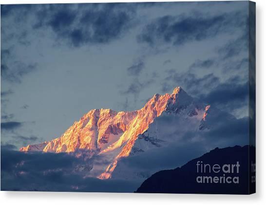 Kangchenjunga Canvas Print - Sunset On Mount Kanchenjugha At Dusk Sikkim by Rudra Narayan Mitra