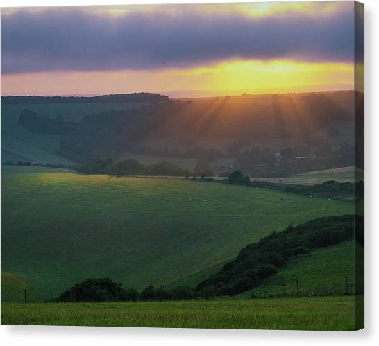 Sunset Over The South Downs Canvas Print
