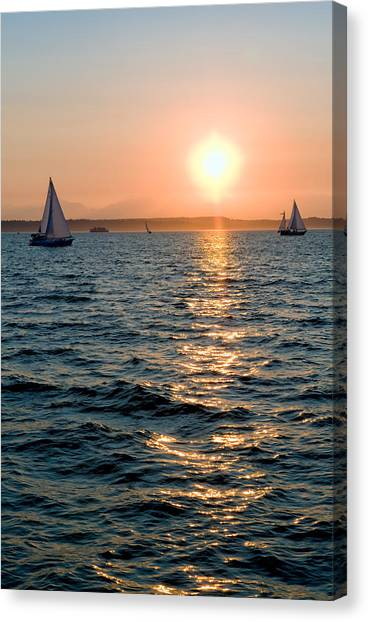 Sunset Sailing Canvas Print by Tom Dowd