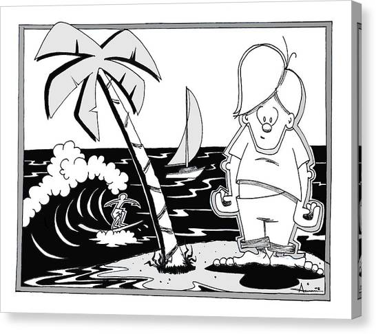 Surfer Toon 4 Canvas Print by Aaron Bodtcher