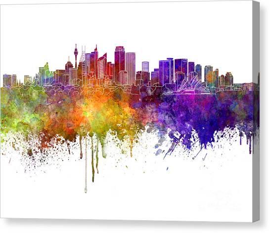 Sydney Skyline Canvas Print - Sydney V2 Skyline In Watercolor Background by Pablo Romero
